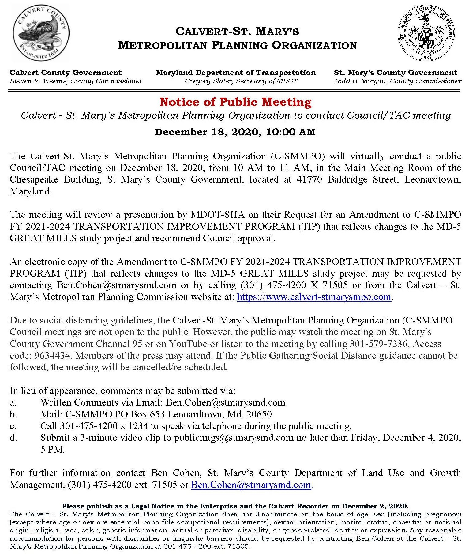 C-SMMPO Council Meeting Notice  December 18 2020 final